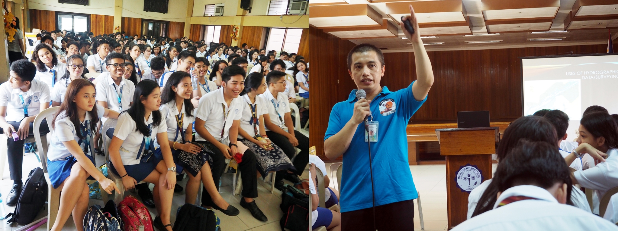 Lcdr Luma-Ang discusses importance of hydrography to Manila Science High School students
